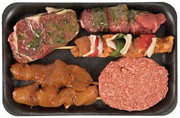 Hocras Bbq luxe pakket runder rib-eye, runderburger, ossenhaas, kipsate,varkenshaas sate